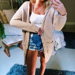 Sweaters - pale mocha cozy gypsy cardigan